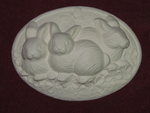 Ceramic Bisque Set of 2 Dona's Inserts ~ Clover Rabbits pyop unpainted ready to paint diy