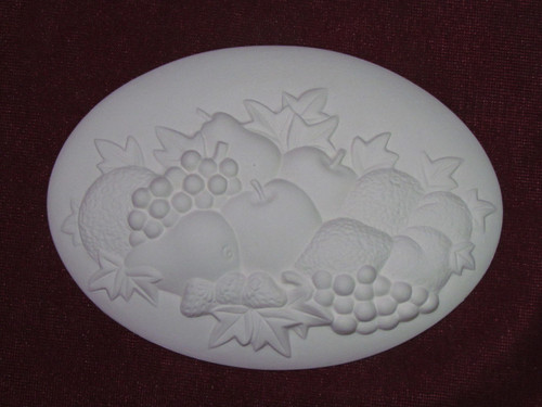 Ceramic Bisque Set of 2 Dona's Inserts ~ Fruit pyop unpainted ready to paint diy