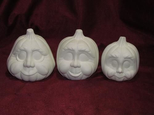 Ceramic Bisque Pumpkin Family pyop unpainted ready to paint diy