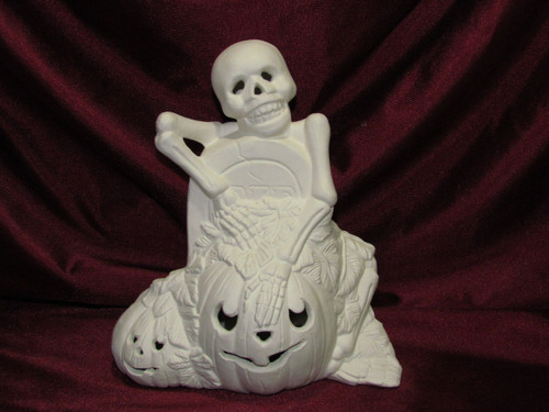 Ceramic Bisque Spooky Skeleton With Tombstone & Pumpkins pyop unpainted ready to paint diy