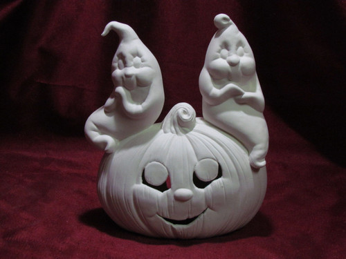 Ceramic Bisque Pumpkin With Ghosts pyop unpainted ready to paint diy