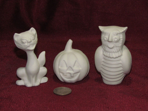 Ceramic Bisque Cat Owl Pumpkin Small Figurines pyop unpainted ready to paint diy