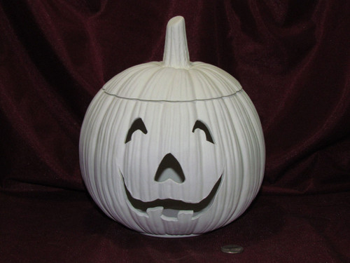 Ceramic Bisque Pumpkin Lamp With Removable Top pyop unpainted ready to paint diy