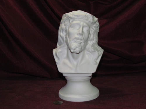Ceramic Bisque Bust Jesus Christ Crown Of Thorns pyop unpainted ready to paint diy