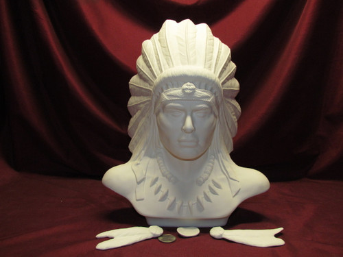 Ceramic Bisque Bust Native American Chief