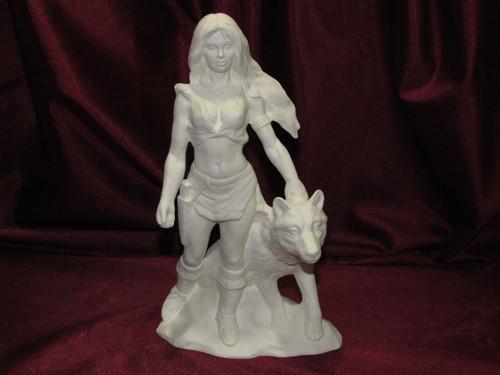 Ceramic Bisque Native American Maiden With Wolf