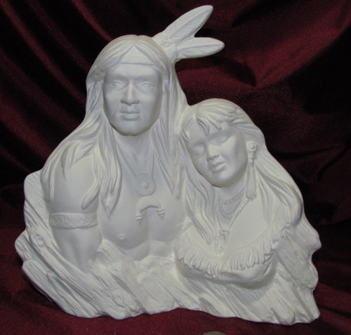 Ceramic Bisque Bust Native American Couple