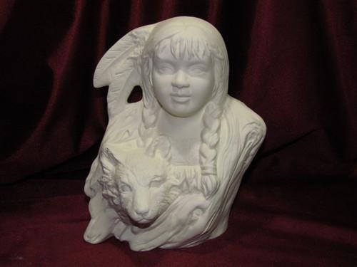 Ceramic Bisque Bust Native American Little Wolf