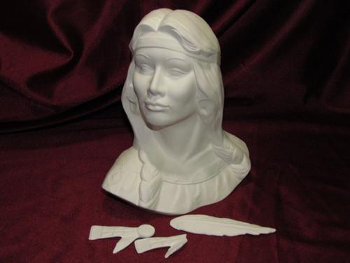 Ceramic Bisque Bust Native American Maiden
