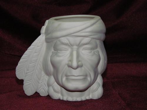 Ceramic Bisque Bust Native American Head Cup