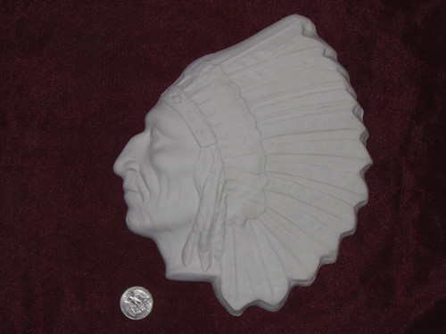 Ceramic Bisque Native American Chief Wall Hanging
