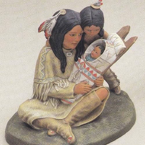 Ceramic Bisque Native American Maiden With Children
