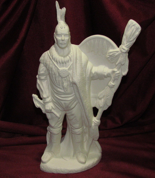Ceramic Bisque Native American Man With Shield & Tomahawk