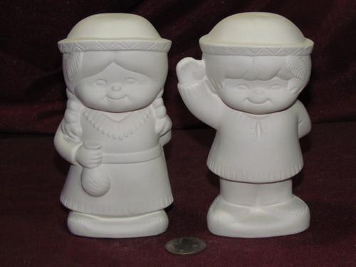 Ceramic Bisque Native American Boy & Girl