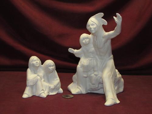 Ceramic Bisque Native American Story Teller & Children