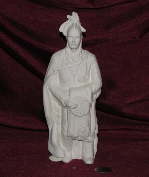 Ceramic Bisque Native American Wise Man With Mohawk & Dream Catcher