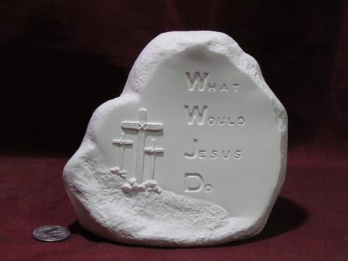 Ceramic Bisque Rock WWJD pyop unpainted ready to paint diy