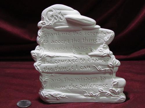 Ceramic Bisque Rock Serenity Prayer pyop unpainted ready to paint diy