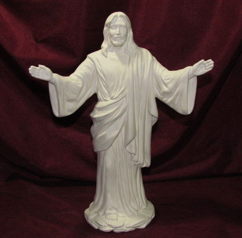 Ceramic Bisque Jesus Christ With Arms Out pyop unpainted ready to paint diy