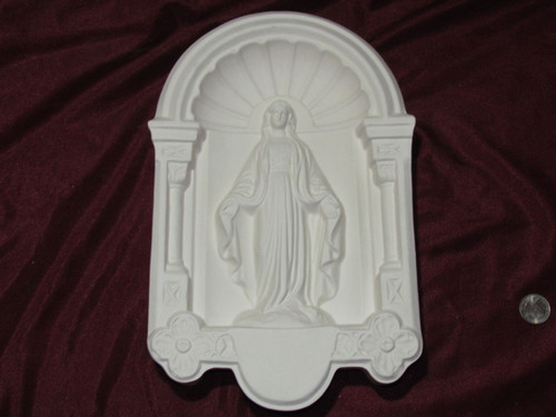Ceramic Bisque Vintage Madonna / Virgin Mary Wall Hanging pyop unpainted ready to paint diy