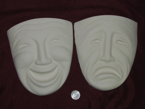 Ceramic Bisque Comedy and Tragedy Masks Wall Hanging pyop unpainted ready to paint diy