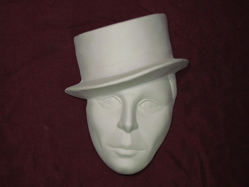 Ceramic Bisque Top Hat Man Mask Wall Hanging pyop unpainted ready to paint diy