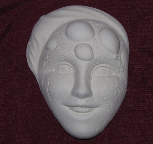 Ceramic Bisque Confetti and Balloons Party Woman Mask Wall Hanging pyop unpainted ready to paint diy