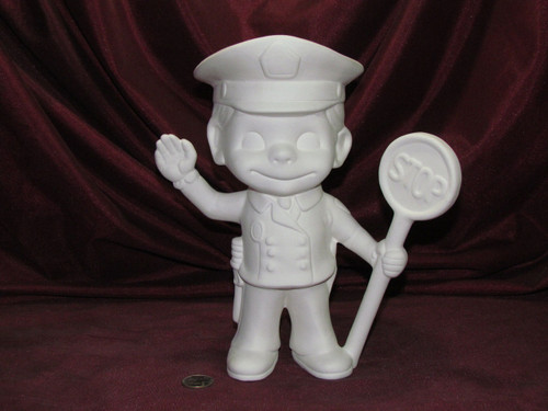 Ceramic Bisque Happy Smiley Figurine Policeman pyop unpainted ready to paint diy