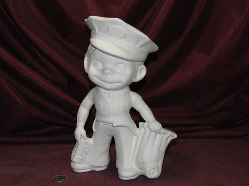 Ceramic Bisque Happy Smiley Figurine Mailman pyop unpainted ready to paint diy
