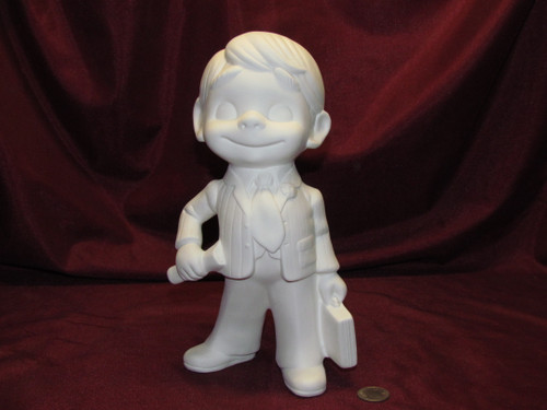 Ceramic Bisque Happy Smiley Figurine Businessman pyop unpainted ready to paint diy