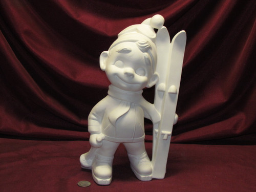Ceramic Bisque Happy Smiley Figurine Skier pyop unpainted ready to paint diy