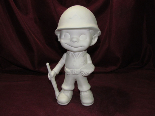 Ceramic Bisque Happy Smiley Figurine Soldier pyop unpainted ready to paint diy
