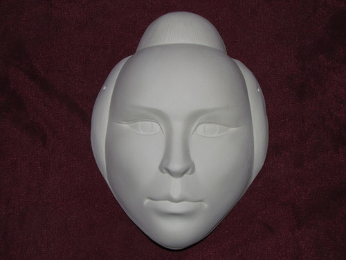 Ceramic Bisque Oriental Man Mask Wall Hanging pyop unpainted ready to paint diy