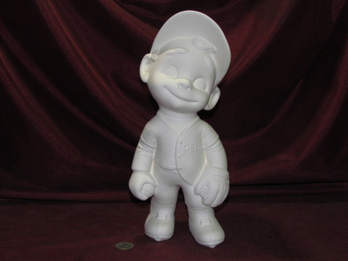 Ceramic Bisque Happy Smiley Figurine Baseball Player pyop unpainted ready to paint diy