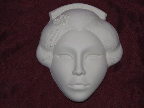 Ceramic Bisque Oriental Woman Mask Wall Hanging pyop unpainted ready to paint diy