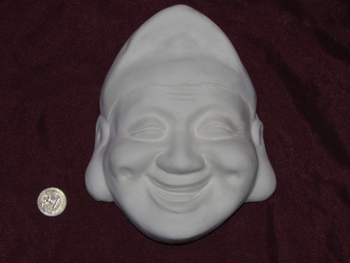 Ceramic Bisque Happy Oriental Man Mask Wall Hanging pyop unpainted ready to paint diy