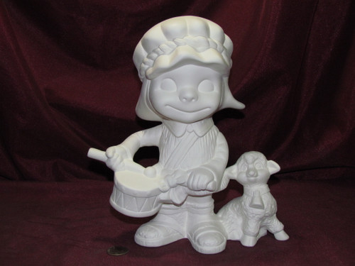 Ceramic Bisque Happy Smiley Figurine Drummer Boy & Sheep pyop unpainted ready to paint diy