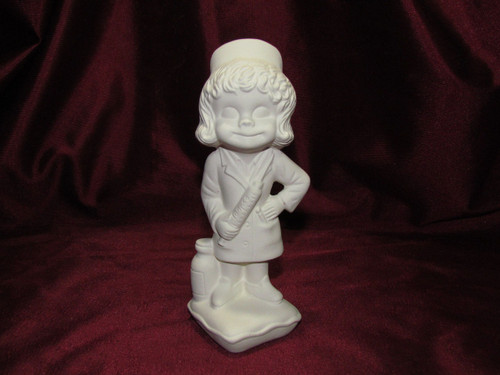 Ceramic Bisque Happy Smiley Figurine Nurse pyop unpainted ready to paint diy