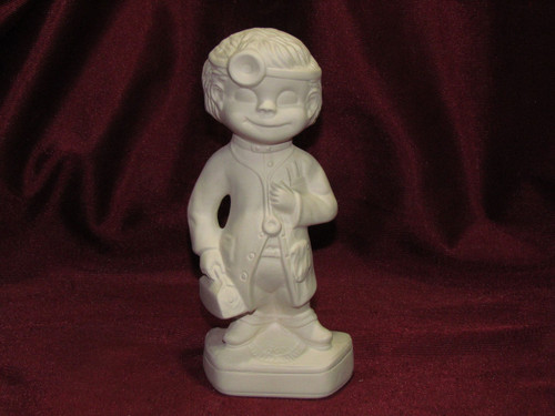 Ceramic Bisque Happy Smiley Figurine Doctor pyop unpainted ready to paint diy