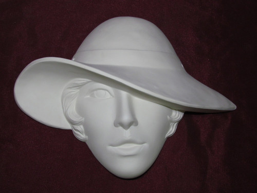 Ceramic Bisque Woman with Hat over Eye Mask Wall Hanging pyop unpainted ready to paint diy