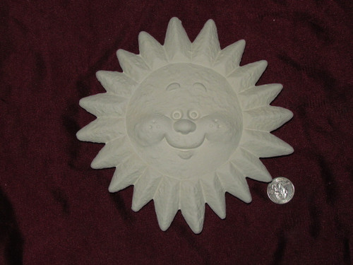 Ceramic Bisque Happy Sun Smiling Wall Hanging pyop unpainted ready to paint diy