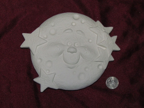 Ceramic Bisque Happy Moon Smiling Wall Hanging pyop unpainted ready to paint diy