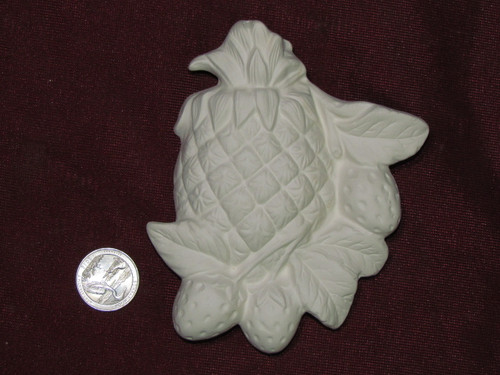 Ceramic Bisque Pineapple and Strawberry Fruit Plaque Wall Hanging  pyop unpainted ready to paint diy