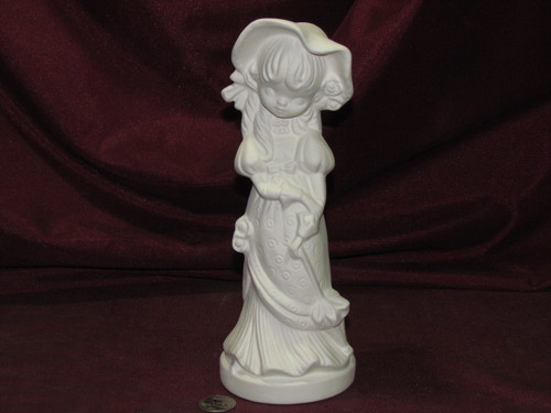 Ceramic Bisque Evergreen Small Girl Bonnet and Umbrella pyop unpainted ready to paint diy