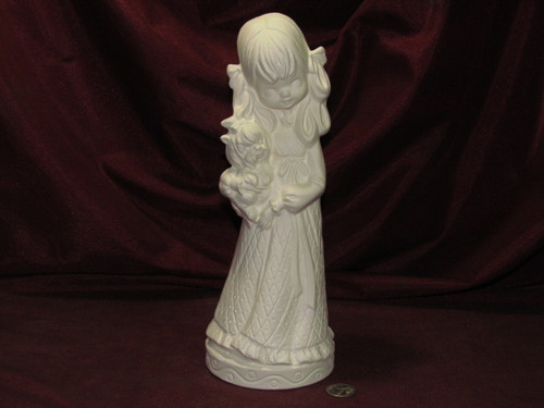 Ceramic Bisque Evergreen Big Hair Girl with a Dog pyop unpainted ready to paint diy