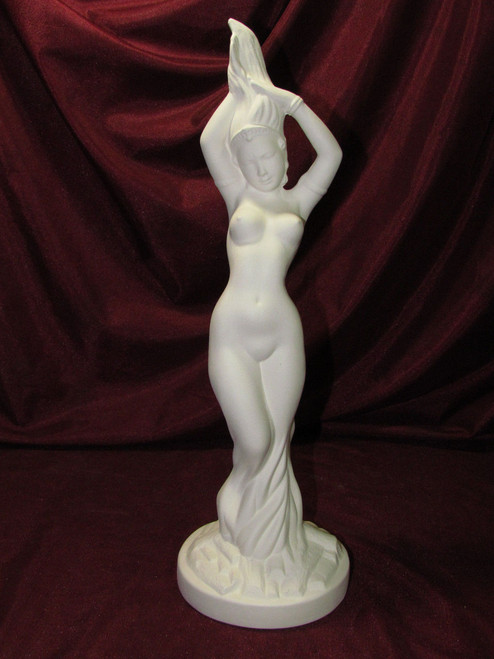 Ceramic Bisque Vintage Fire Dancing Lady Lamp Nude pyop unpainted ready to paint diy