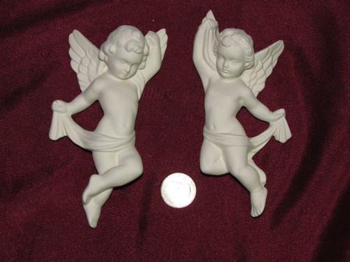 Ceramic Bisque Pair of Cherub Angel Wall Hangings pyop unpainted ready to paint diy
