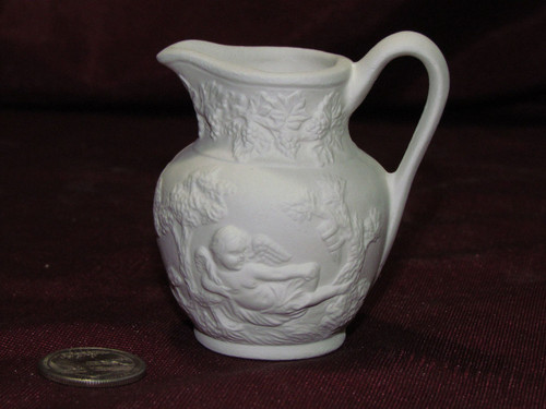 Ceramic Bisque Vintage Small Pitcher With A Cherub On It pyop unpainted ready to paint diy