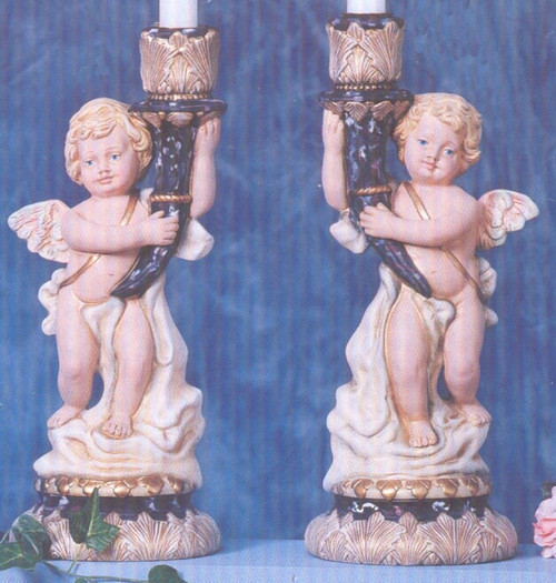 Ceramic Bisque Pair Of Cherub Candlestick Holders pyop unpainted ready to paint diy