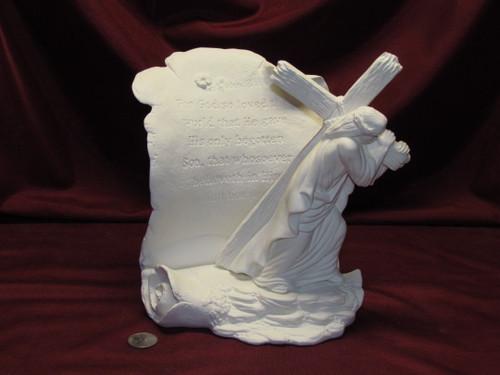 Ceramic Bisque Jesus with Cross Scroll John 3:16 Prayer pyop unpainted ready to paint diy